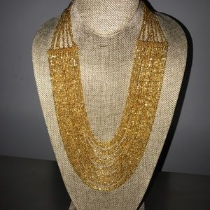 Sparkly Gold Beaded Statement Necklace